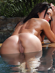 Kirsten Price no tan lines sun goddess in white and pink thong